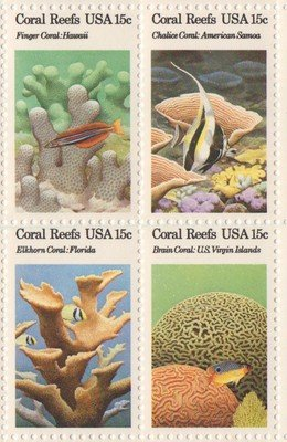 Coral Reefs Issue Set of 4 x 15 Cent US Postage Stamps NEW Scot 1827-30