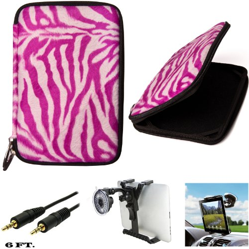 Animal Fur Design Carrying Case For Hp 7 1800, Hp 7 Plus 1301, Hp Mesquite Tablet + Auxiliary Cable + Windshield Car Mount