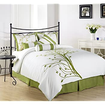 Lovely Chezmoi Collection Piece Green Tree Comforter Set California King White