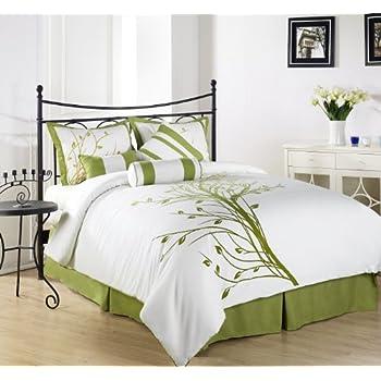 Spectacular Chezmoi Collection Piece Green Tree Comforter Set California King White