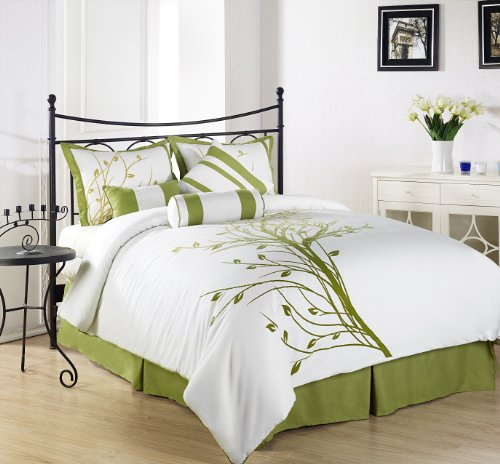 Chezmoi Collection 7 Pieces Flocking Gradation Green Tree on White Duvet Cover Set Queen Size Bedding