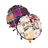 Colorfull Set Of 2 Cushion Cover Floral Purple Round Cotton Pillow Cases