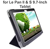 "Le Pan II 9.7""/ Le Pan S 9.7"" Tablet Custom Fit Portfolio Leather Case Cover with Built In Stand- Black"
