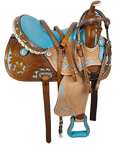 14 15 16 WESTERN LEATHER BLUE BARREL RACING RACER PLEASURE TRAIL HORSE SADDLE TACK PACKAGE (15 (Barrel Racing Saddle Package compare prices)