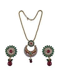 Nimbark Traders Antique Gold Polki Designer Pendent Set With Earrings For Women