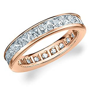 14K Rose Gold Diamond Princess Eternity Ring (3.0 cttw, G-H Color, SI1-SI2 Clarity) Size 9.5