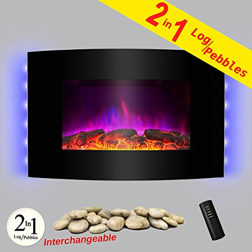 "AKDY® 36"" Wall Mount Type Tempered Glass Adjustable 2 Setting 1500W LED Flame Effect Bedroom Electric Fireplace Heater 2-in-1 Pebbles Log Interchangeable"