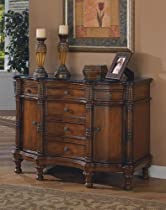 Hot Sale Cherry brown finish wood bombe chest console table with marble top