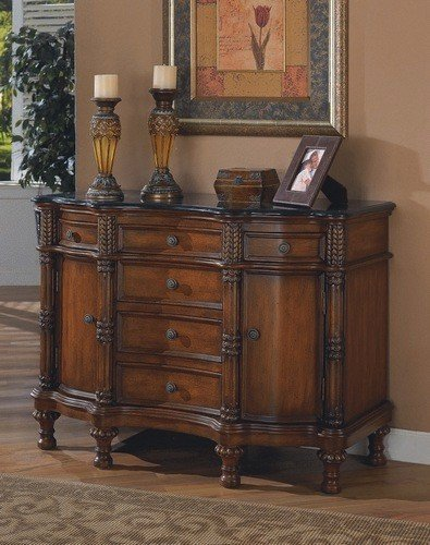 Cheap Cherry brown finish wood bombe chest console table with marble top (B000XBNUU8)