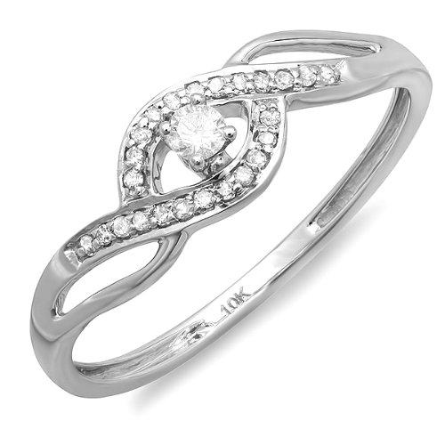0.20 Carat (ctw) 10k White Gold Round Cut Diamond Ladies Promise Swirl Wave Engagement Bridal Ring 1/5 CT