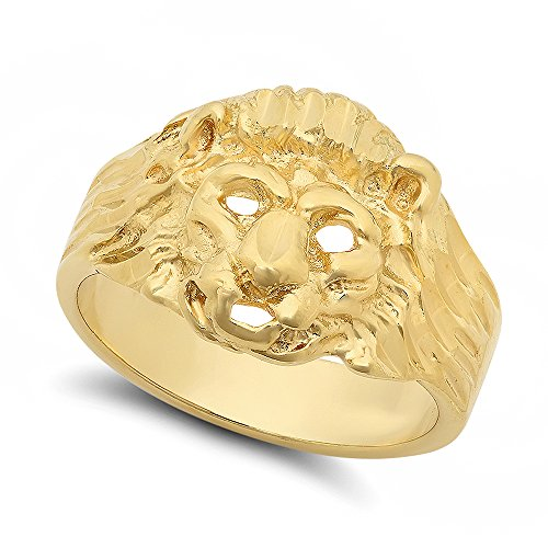 Menâ €catena placcata oro giallo 14 k, Design a filigrana Lionâ €TMs, con anello, placcato oro, 31, cod. GL-MN14-13.5