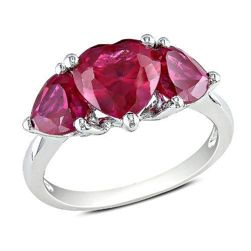 Sterling Silver 4 4/5 CT TGW Created Ruby Fashion Ring