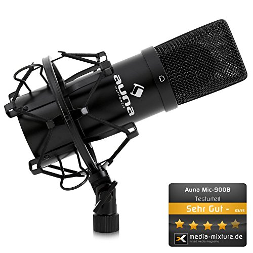 Auna MIC-900 USB Cardioid Studio Condenser Microphone (Plug & Play, USB Connector & Shockmount) black
