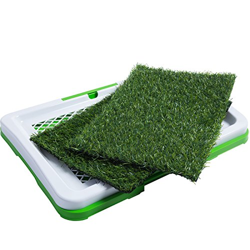 oxgord-puppy-pad-holder-training-indoor-pee-potty-trainer-litter-box-includes-2-synthetic-grass-pee-