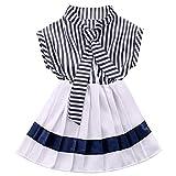 MIOIM 女の子 子供 ボーダー ワンピース セーラー服 プリーツ スカート カー軍風 かわいい ドレス ランキングお取り寄せ
