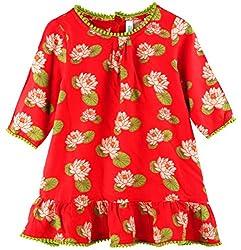 Snuggles Girls Aline Long Sleeve Dress - Coral (6-12M)