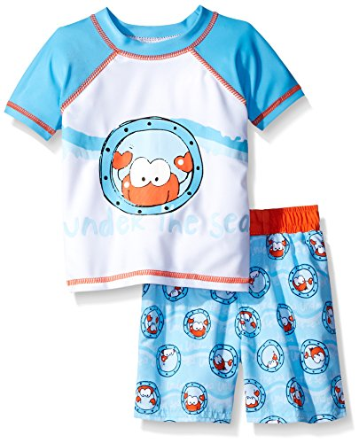 Sol Swim Baby Under The Sea Rash Guard Set, Light Blue, 3-6 Months