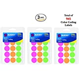 Avery Round Color Coding Labels, 0.75 Inch, Assorted, Removable,Pack of 315 (6733) 3 Pk