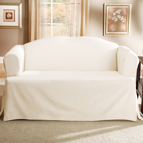 Lightweight Cotton T Cushion Sofa Slipcover Natural
