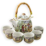 Boxed Tea for 6 Porcelain Infuser Teapot Set - Ancient Chinese Ladies In The Gardens Design - 6 Cups and 1 Teapot