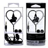 Wayzon Quality Black Doway Super Extra Bass Earphone Hands-Free Headset Headphone Earpiece With Mic And Built iN On Off / Make And Receive Calls Button For Samsung Galaxy Express I437 / I8730 / Fame S6810 / Fit S5670 / I9505 Galaxy S4