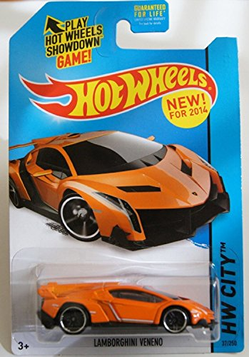 2014 Hot Wheels Hw City 37/250 - Lamborghini Veneno - Orange [Ships in a Box!] - 1