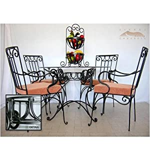 5pc wrought iron kitchen patio dining room table set