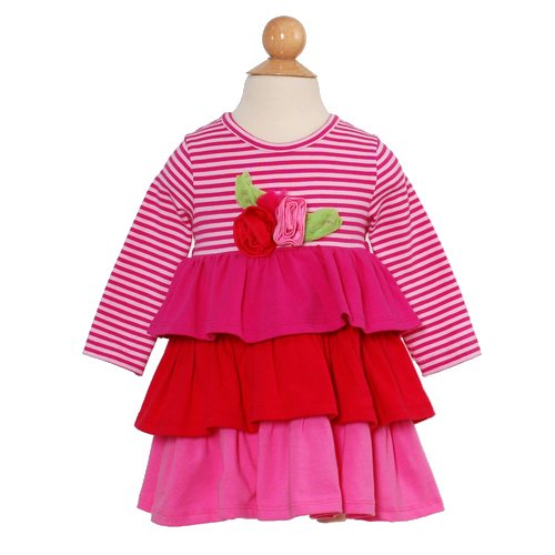 Rare Editions Pink Red Size 5 Little Girl Stripe Tiered Dress