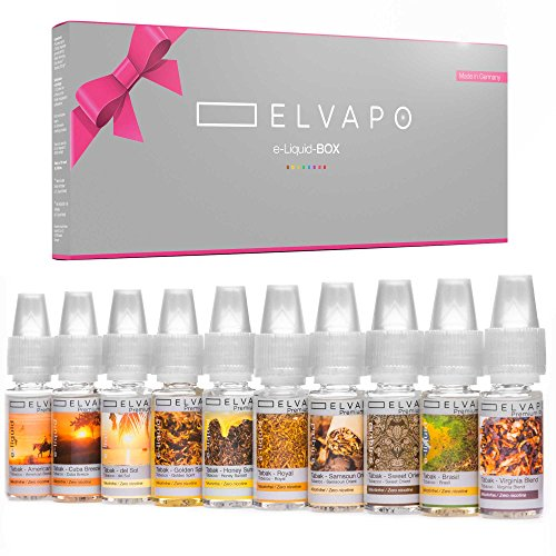 10 x 10ml Elvapo E-LIQUID-BOX | Made in Germany | Tabak-Set: American Blend, Royal, Virginia Blend, Samsoun Orient, Golden Spirit, Honey Sunset, Brasil, del Sol, Sweet Orient | Probierset für E-Zigaretten und E-Shishas | 0mg (ohne Nikotin)