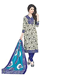 PShopee Blue Printed Cotton Unstitched Salwar Suit Dress Material