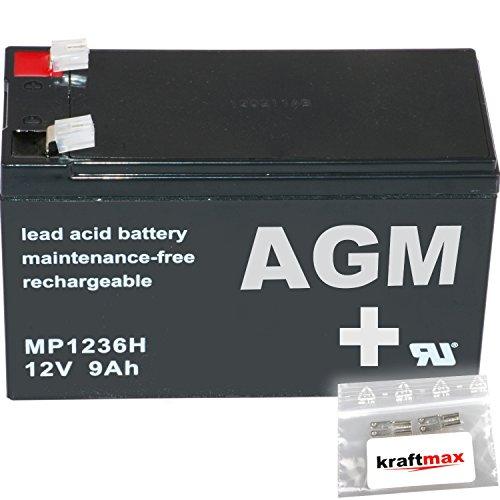 1x-AGM-12V-9Ah-Blei-Akku-MP1236H-Faston-63-Hochstrom-Akku-inkl-2x-Original-Kraftmax-Anschlu-Adapter