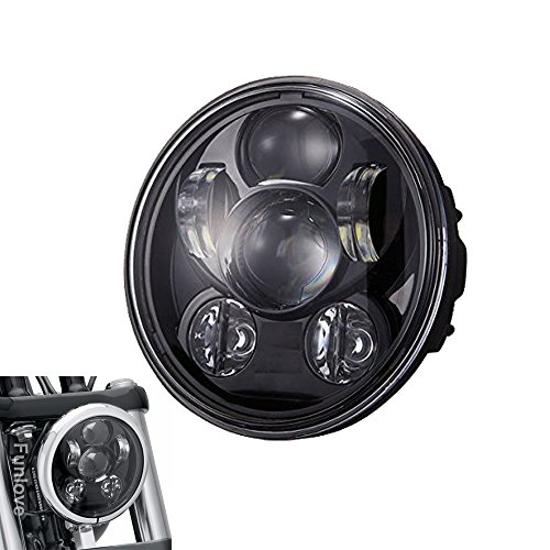 Funlove 5-3/4 5.75 Inch 45W Daymaker Projector LED Headlight for Harley Davidson Motorcycles (Black Harley Davidson Headlight compare prices)