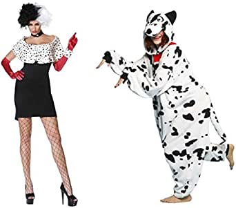 Amazon com cruella de vil evil madame amp dalmation couples costume