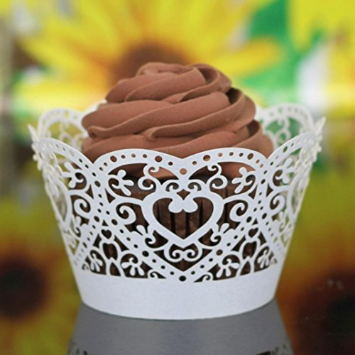 Muxika 25Pcs Hollow Lace Cup Muffin Cake Paper Case Wraps Cupcake Wrapper for Wedding Birthday Festival Party Decoration DIY Cupcake (White) (Heart Baking Decorations compare prices)