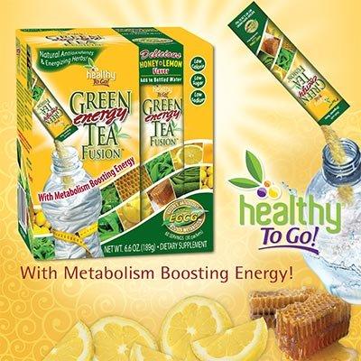 Green Tea Energy Fusion-Natural Organic Green Tea Mix, 30 Packets Honey-Lemon Flavor