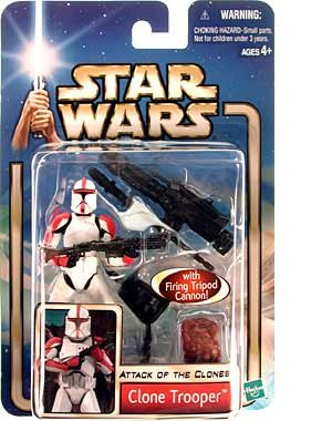 "Buy Low Price Hasbro Star Wars Year 2002 Collection 1 ""Attack of the Clones"" 4 Inch Tall Action Figure #17 – Red Striped Clone Trooper with Blaster Rifle and Firing Tripod Cannon (B002WTURCI)"