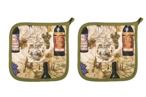 Now Designs 505993a Basic Potholders, Set of 2 (Wine Labels)
