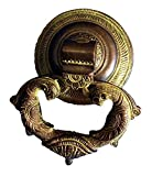 ART ANTIQUA Brass Peacock Shape Door Knocker (Black & Green, 8x3x18.5 cm)