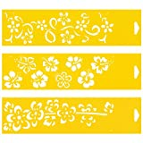 Set of 3 - 30cm x 8cm Reusable Flexible Plastic Stencils for Cake Design Decorating Wall Home Furniture Fabric Canvas Decorations Airbrush Drawing Drafting Template - Caribbean Flowers Flowery Ribbon