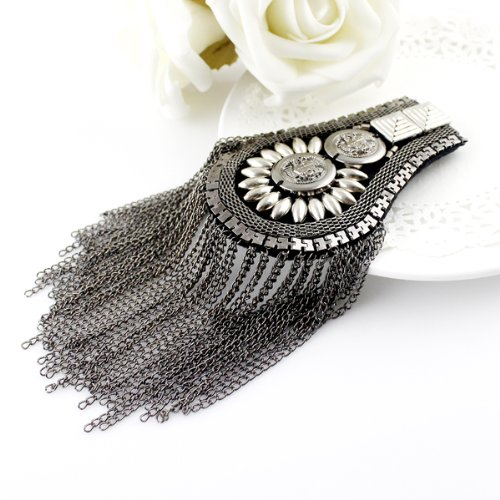 Feel on Top® Exaggerate Antique Style Silver Black Color Alloy European Trendy Tassels Chain Brooch Shoulder Board with Free Jewelry Pouch (Black) (Shoulder Boards compare prices)