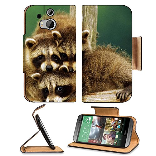 Raccoon Three Sit Beautiful Baby Htc One M8 Flip Case Stand Magnetic Cover Open Ports Customized Made To Order Support Ready Premium Deluxe Pu Leather 6 4/16 Inch (158Mm) X 3 4/16 Inch (82Mm) X 9/16 Inch (14Mm) Liil Htc1 Cover Professional M 8 Cases M_8 A front-702264