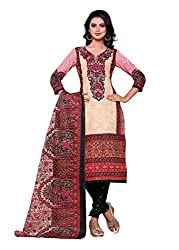 SayShopp Fashion Women's Unstitched Regular Wear Cotton Printed Salwar Suit Dress Material (ZDM-06_Cream,Red_Free Size)