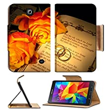 buy Liili Samsung Galaxy Tab 4 7.0 Inch Flip Pu Leather Case Two Wedding Rings And Roses On A Bible With Genesis Text The Decorations In The Book Are Copied Image Id 4944338