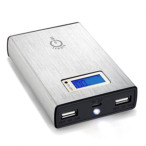 Intocircuit 11200mAh Dual USB Portable External Battery Charger with Smart LCD Display, Silver