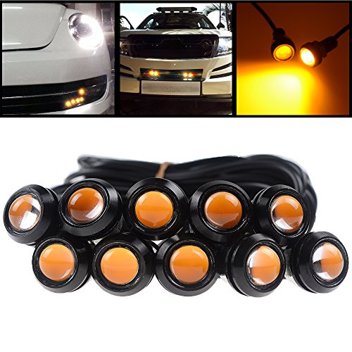 10X High Power Amber LED Eagle Eye Bumper DRL Daytime Running Backup Fog Tail Light Universal Motorcycle Car