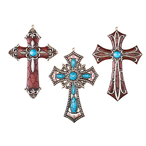 Western-Themed Hanging Cross Wall Decor - Set Of 3