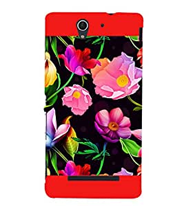 Flowers Pattern 3D Hard Polycarbonate Designer Back Case Cover for Sony Xperia C3 Dual :: Sony Xperia C3 Dual D2502