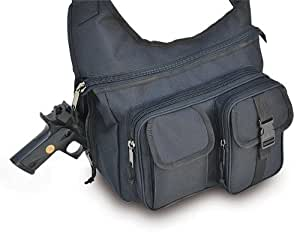 Ultimate Arms Gear Stealth Black Tactical Shoulder Slip Multi-Functional Heavy Duty Sling Equipment Field Messenger Bag with Adjustable Shoulder Length Straps with Concealed Pistol Gun Holster Compartment, Note Book, Computer Laptop, IPad I Pad & Map Accessories Pockets, Padded Front Pocket for Camera, I Phone IPhone Equipment Shooting Range Hunting Camping Law Enforcement Patrol Gear SB7