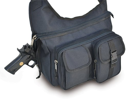 Ultimate Arms Gear Stealth Black Tactical Shoulder Slip Multi-Functional Heavy Duty Sling Equipment Field Messenger Bag With Adjustable Shoulder Length Straps With Concealed Pistol Gun Holster Compartment, Note Book, Computer Laptop, Ipad I Pad & Map Acce