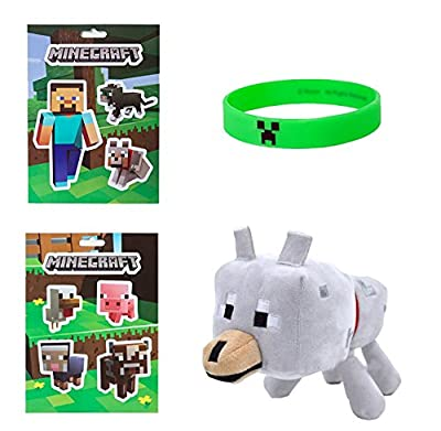 "Minecraft Bundle #2- 5""x7"" Sticker Sheets, Creeper Bracelet (L) from Minecraft"